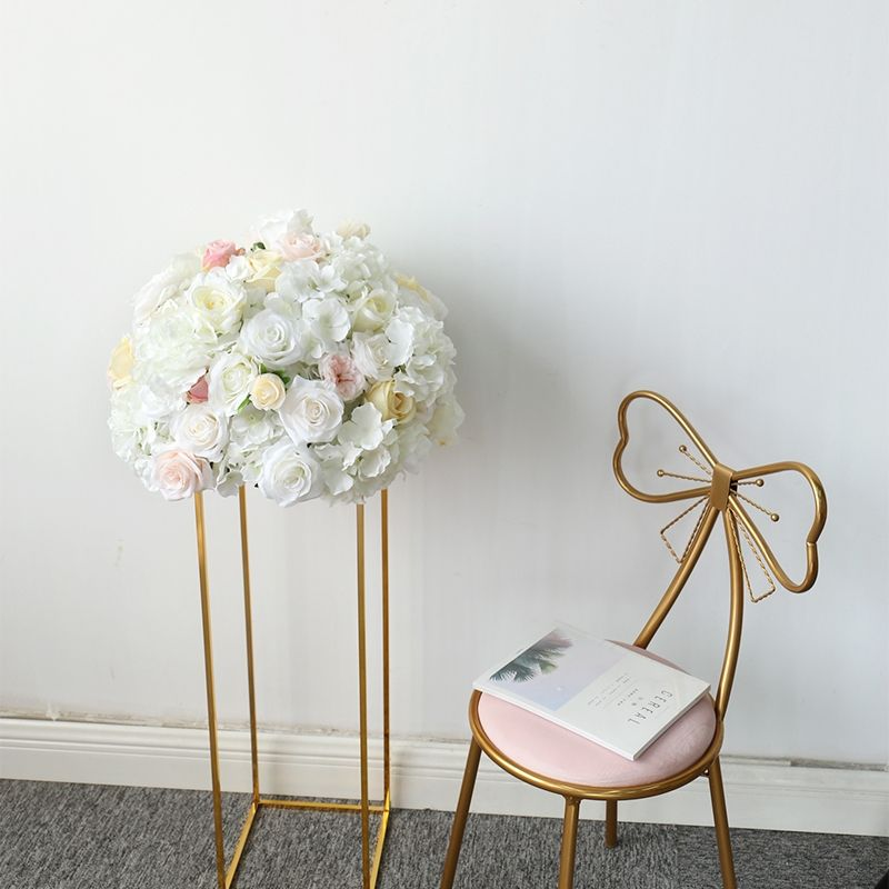 Wholesale metal gold white flower stand and flower stand vase artificial flower ball for wedding table decoration centerpiece