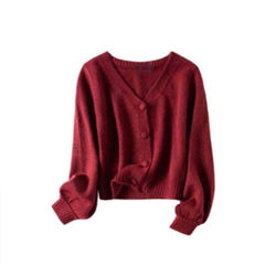 Chelizi red V-neck wool knitted cardigan single breasted long sleeve Vintage Coat new style sweater women in autumn / winter 202