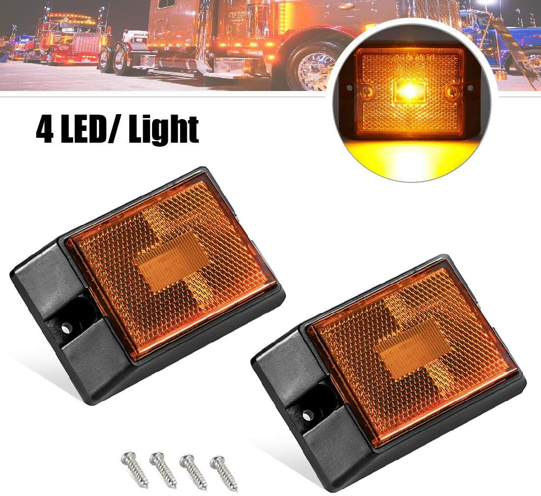 Super Bright LED Amber Side Marker Lights Sealed Submersible Clearance Reflector Lamps