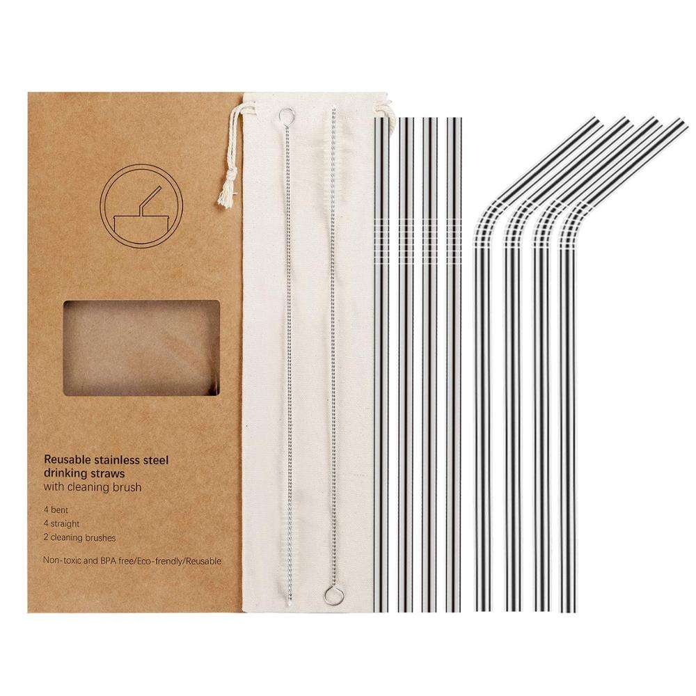 Stainless Steel Straws reusable metal drinking straws with the Cleaning Brush