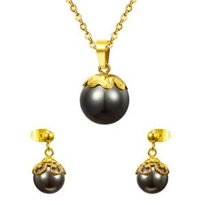 Baru Stainless Steel Perhiasan Set Wanita Pesta Mutiara Hitam Kalung Anting-Anting Set