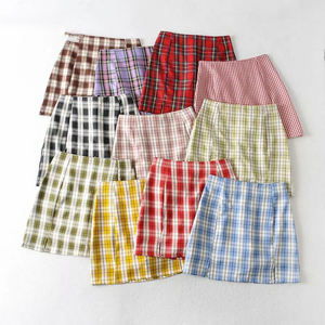Wholesale Summer's High Waisted Plaid Print Skirt Fashion Covers Hips Split Plain Wrap Skirt Preppy Mini Skirt