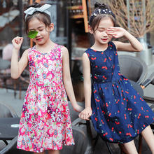 100%cotton hot night summer casual fashion design floral printing  baby girl kids dresses