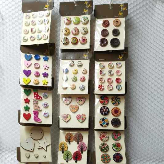 New Kawaii DIY Wooden Botton for Sewing Scrapbooking Accessories