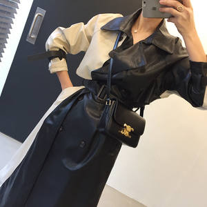 Korean Fashion Patchwork Double Breasted Long Sleeve Design Trench Coat Office Ladies Casual Streetwear Long Coats for Ladies