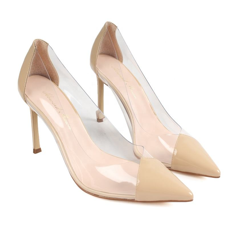 Shoe Woman High Heels Custom Fashion Pointed Toe Transparent PVC Stiletto High Heel Women Shoes Wedding Party Shoes