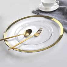 Wholesale dinnerware wedding 13 inch clear glass plate charger plates for restaurant