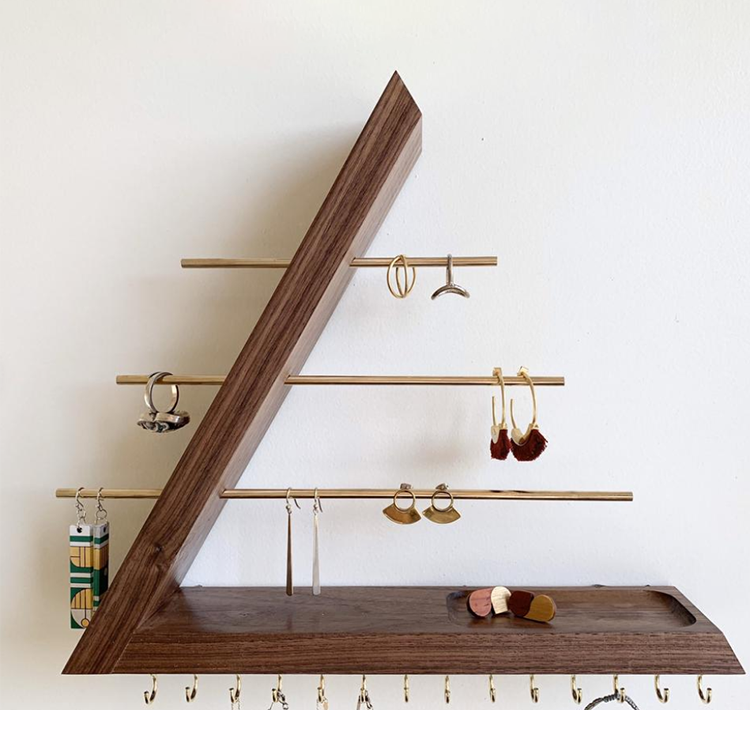 Wall Mounted Earring Holder Removable Bracelet Rod Wood Hanging Jewelry Organizer