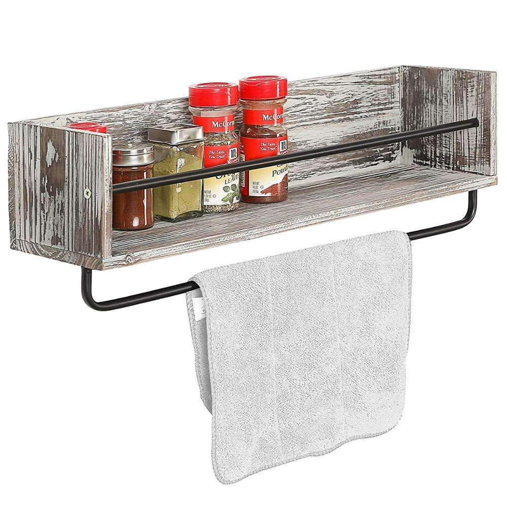 Wooden Metal Wall Mounted Kitchen Spice Rack Shelf Organizer with Towel Bar