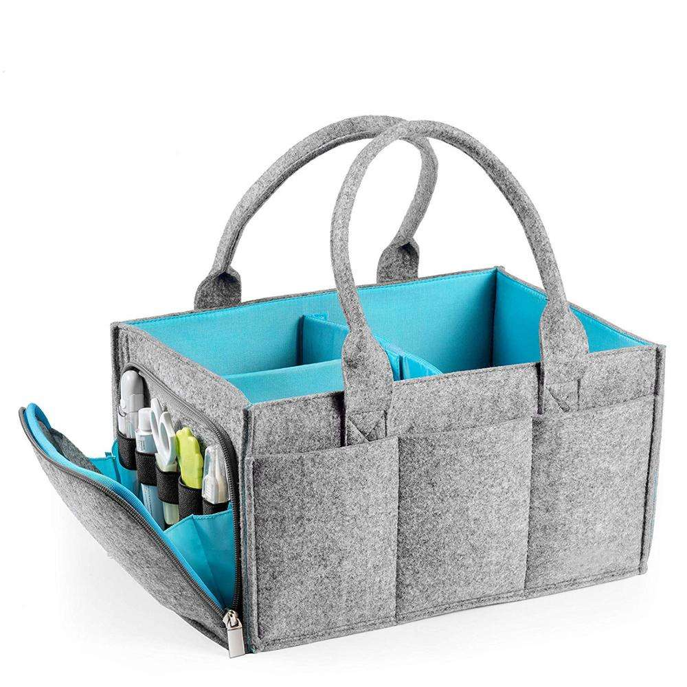Grey Nappy Bag Large Felt Baby Diaper Caddy Nursery Storage Organizer with Zipper Pocket