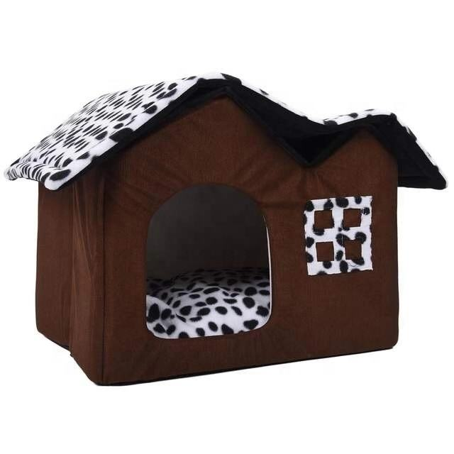 Hot Removable Dog Beds Double Pet large House Brown Dog Room Cat Beds Dog Cushion Luxury Pet Products