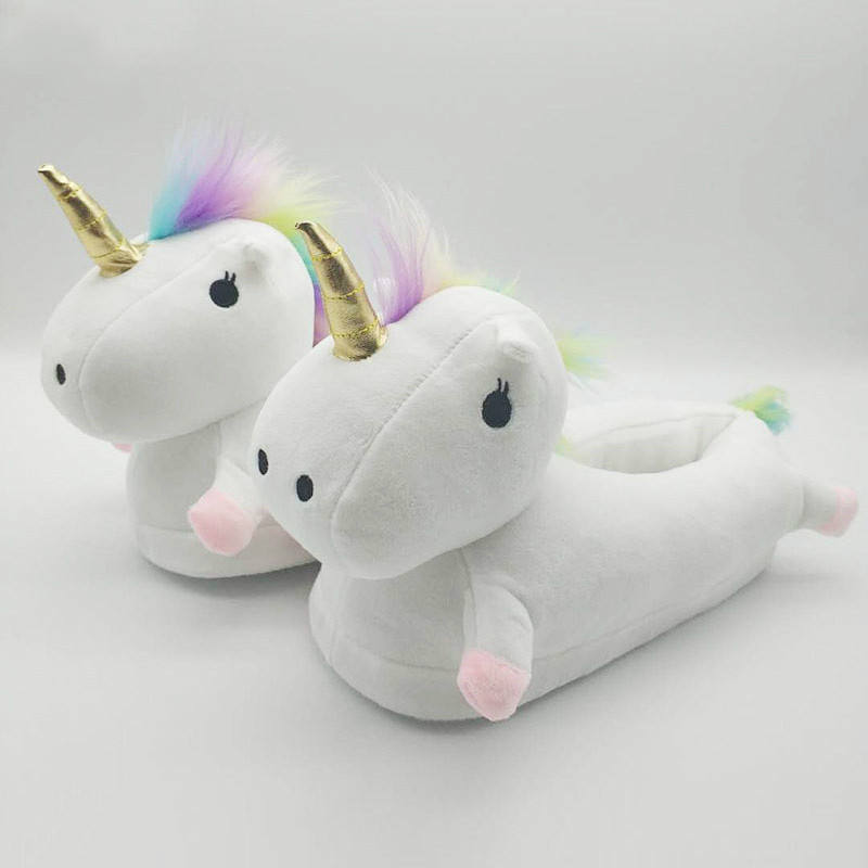 3 Colors Plush Unicorn Slippers OEM Plush Unicorn Slippers For Indoor Cute Fluffy Cozy White Unicor 2020 Wholesale Cheap
