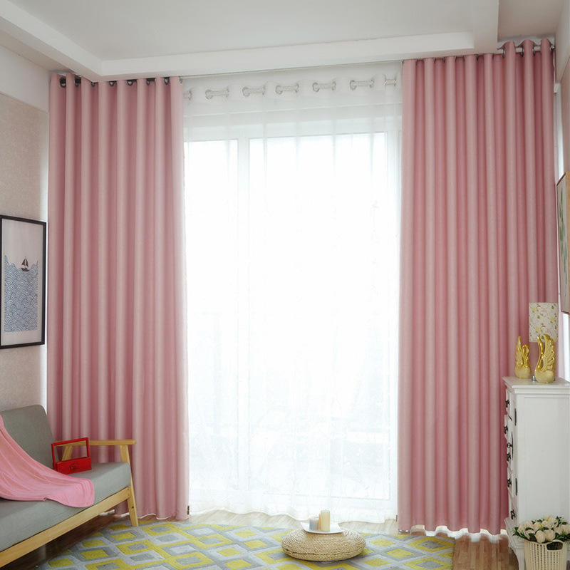 Plain high-precision curtains high blackout curtains living room bedroom hotel solid color engineering curtains