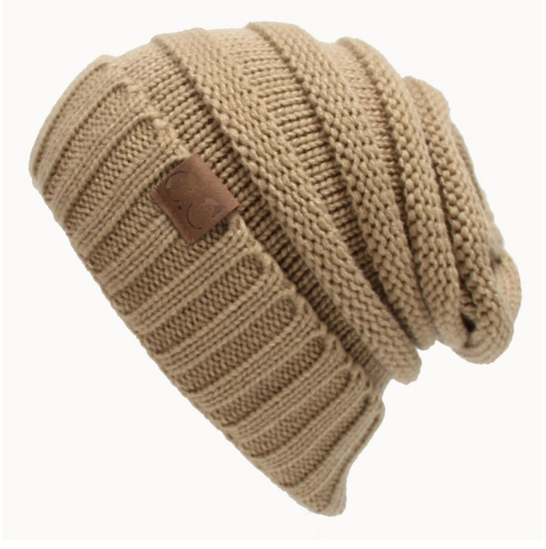 Wholesale supplies knitted warm soft acrylic hat CC label hat for women winter