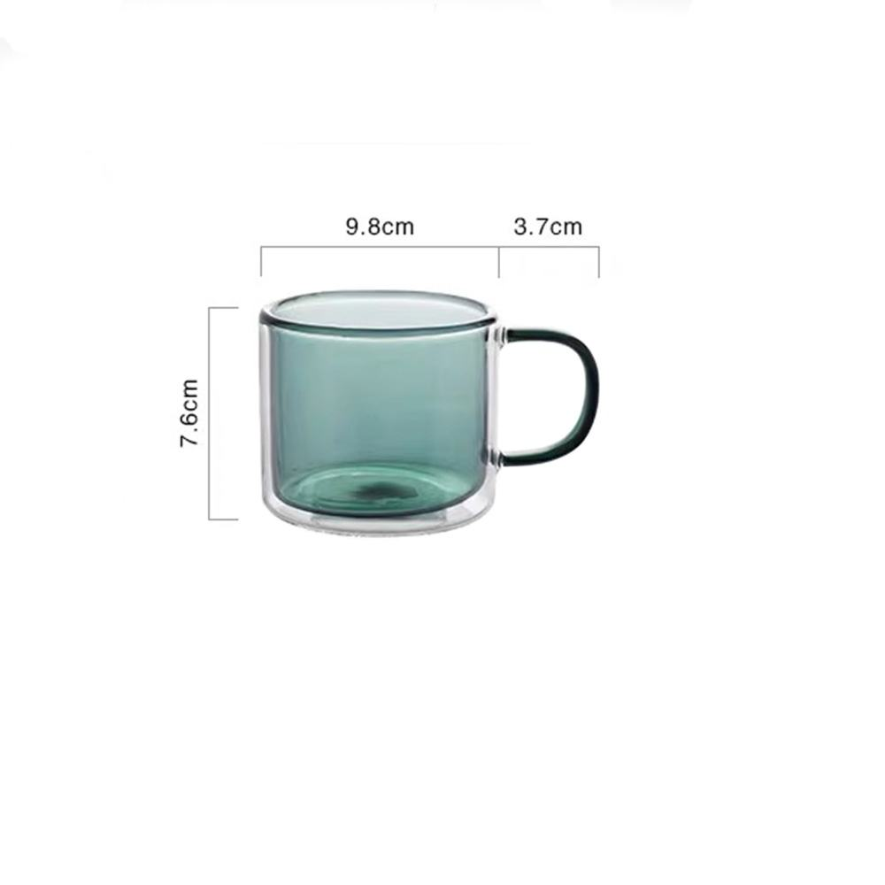 2020 new design colored double wall glass mug
