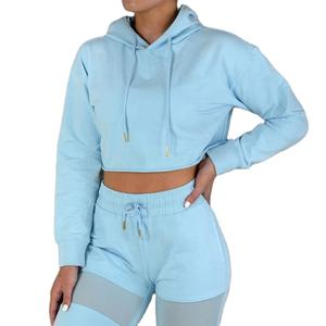 OEM service Gym cotton spandex classical crop hoodie for women