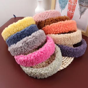 Wholesale Ins Fashion Womens Candy Color Plush Lamb Wide Hairband Sweet Headband Hair Hoop Headwear Girls HairBands