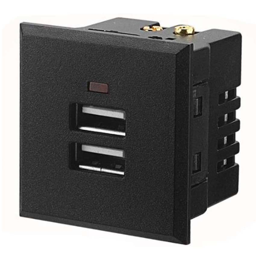 Black White Dual 2.1 eine 5V USB Charger Intelligent Wall Power Outlet 2USB DC Socket