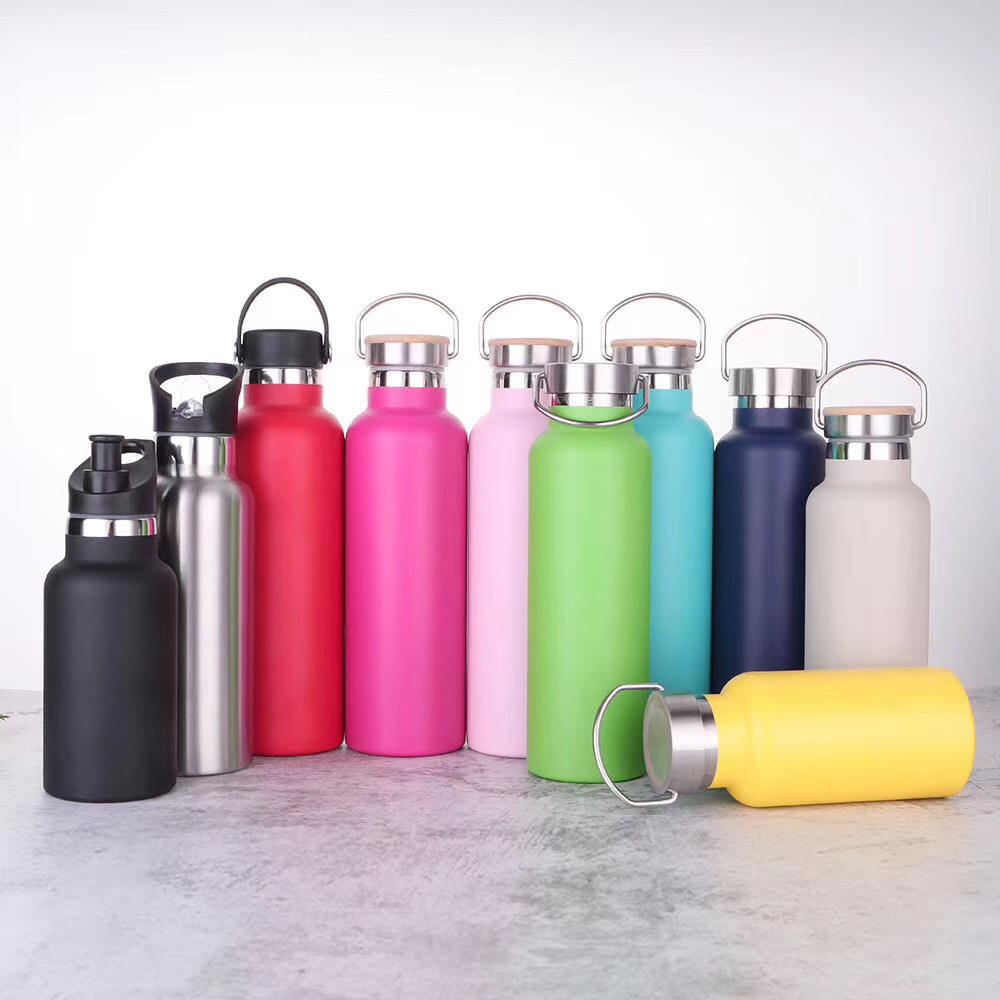 2020 outdoor 350ml/500ml/600ml/750ml double wall stainless steel vacuum insulated sport water bottle with bamboo lid