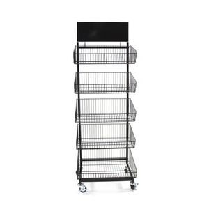 RuiMei 5 Basket Metal Bakery Stands Bread Display Rack