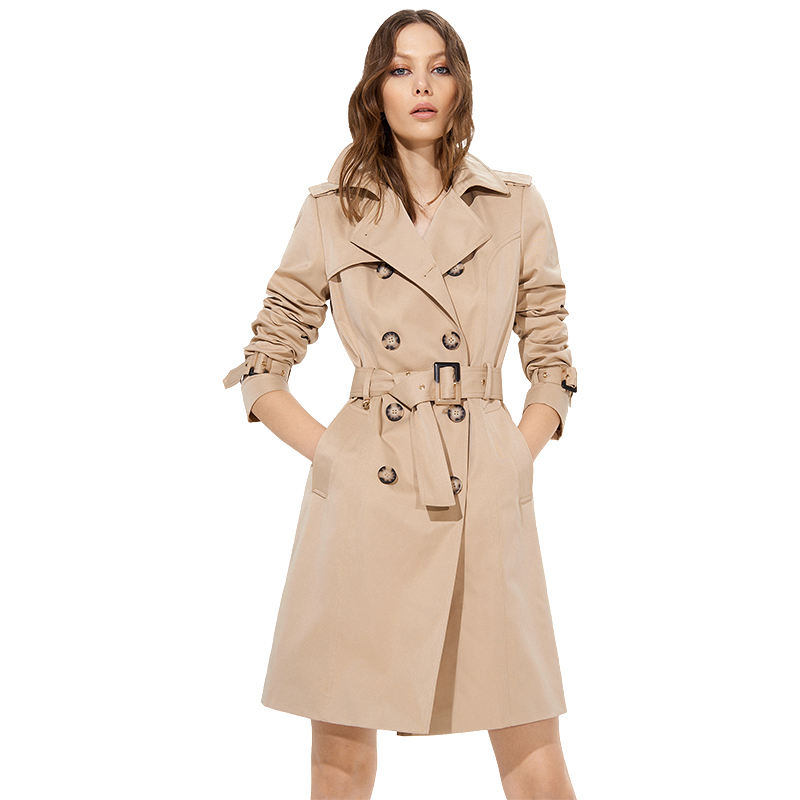 Spring Women Double Breasted Long Coat Office Khaki Classic Casual Trench Coat for Ladies