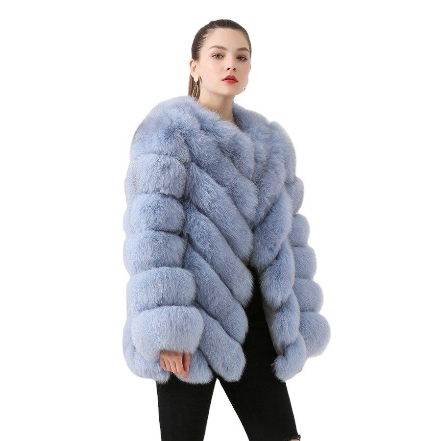QIUCHEN- QC19059 new arrival hot sale real fox fur coat natural fox fur coat long sleeves women coat winter thick fur