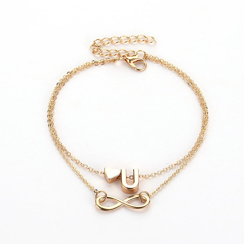 Fashion Simple Design Golden Chain Ankle Gold Silver Heart Shaped Pendant Anklets For Women