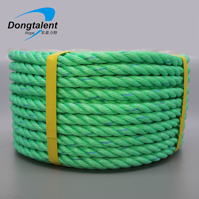 22mm pp dan line rope twisted 4 strand 3 strand plastic hard lay rope