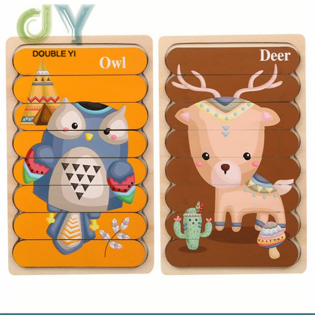 New children's Wooden creative bar puzzle double sided traffic animal story puzzle for Educational Toy