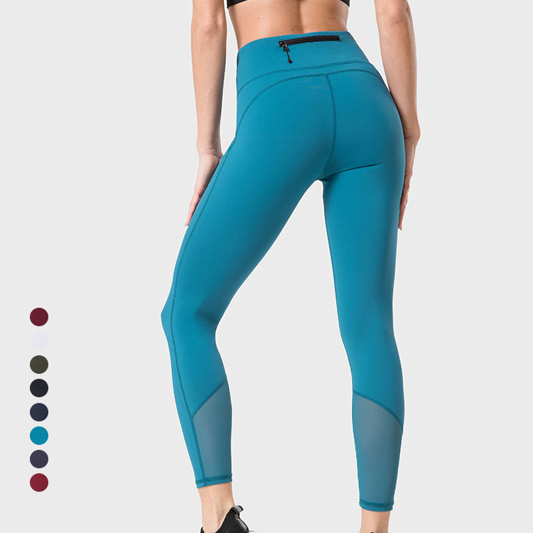 1 Piece Customized Logo Printing OEM Designs Zipper Pocket Yoga Leggings High Waist Sport Leggins for Wom