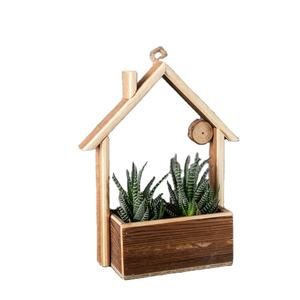 Retro decorative wooden house indoor plant wall shelf potted ornaments wall flower pot holder