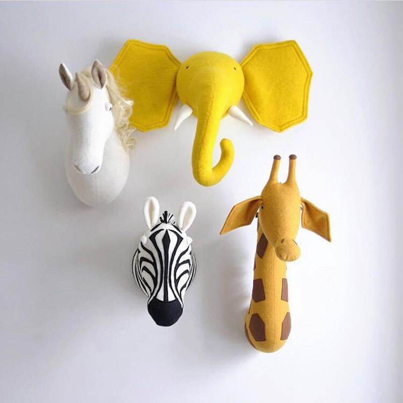 Ins Nordic wind hot style animal head children room kindergarten hanging wall decoration