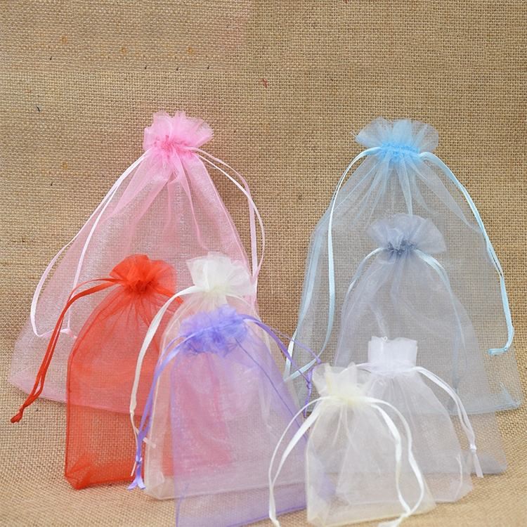 Custom logo eco-friendly biodegradable small drawstring sheer pouch white red recycled jewelry wedding favor gift organza bag