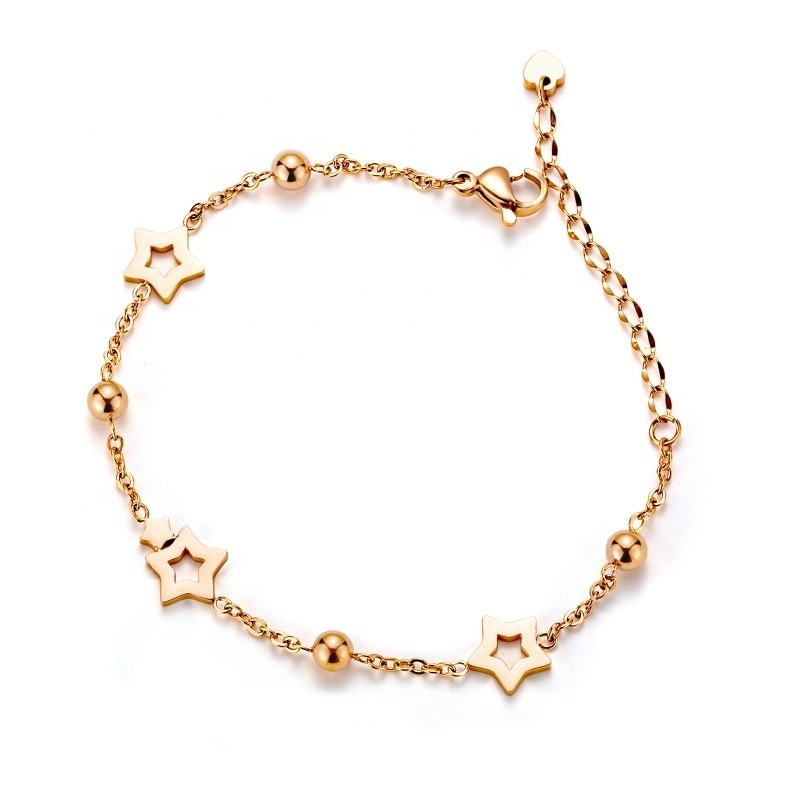 Loftily Jewelry New Arrival Accessories Rose Gold Plating Hollow Stars Bracelet Bracelet Adjustable Bead Chain Link Bracelet