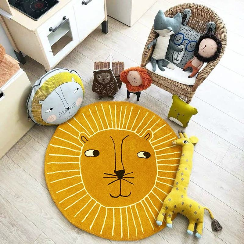 Hot Selling 3d cartoon Lion kids pad 100cm play mat with fabric cotton tiger carpet rug for photo booth props