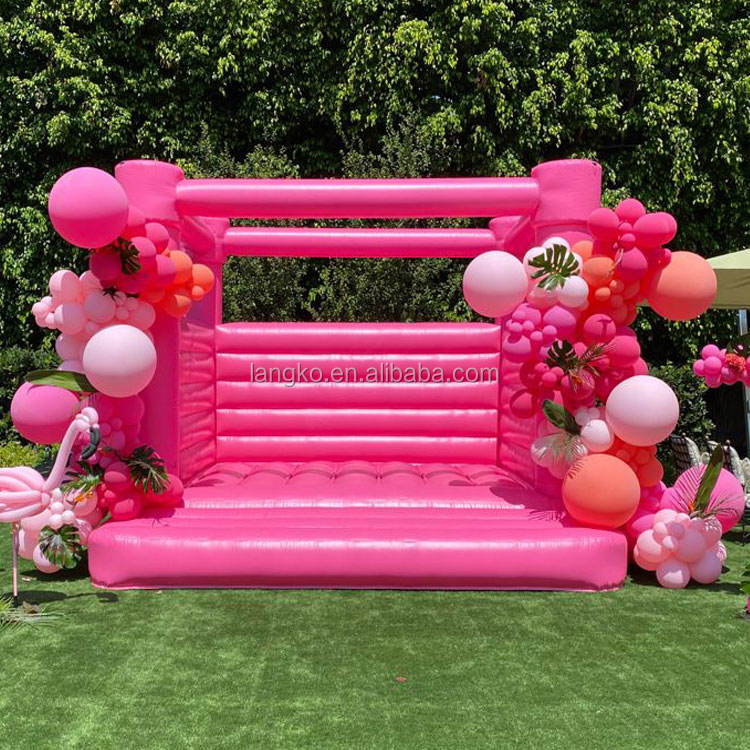 Adult kids love inflatable hot pink bounce house castle for birthday wedding party events