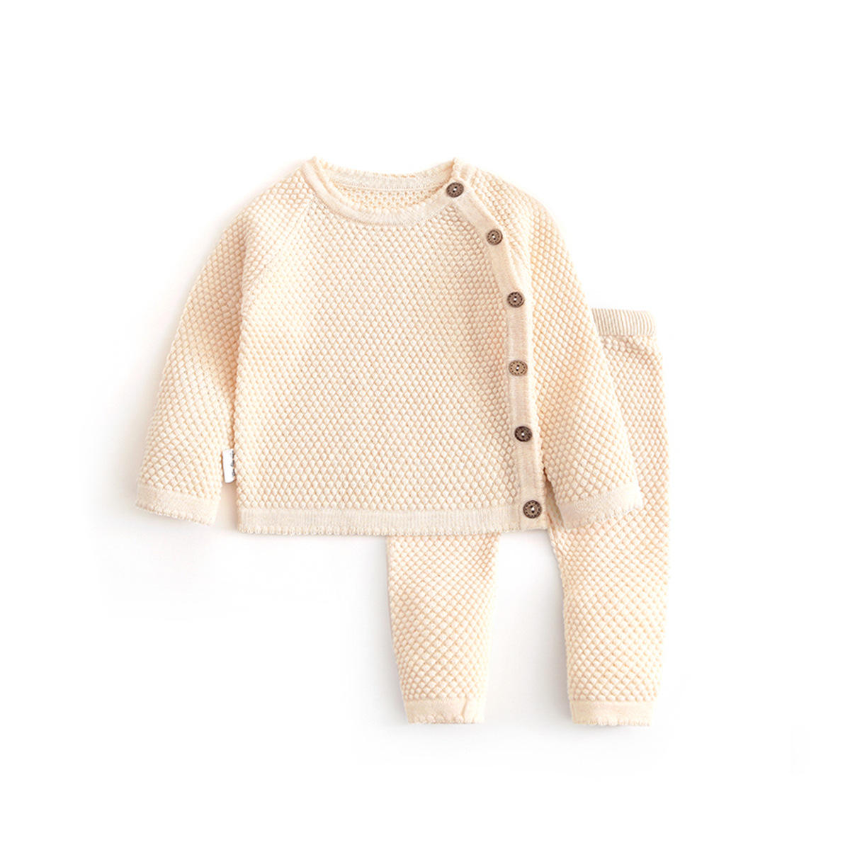 Spring Autumn Handmade Wool Sweaters Newborn Baby Knitted Tops Pants Set Outwear