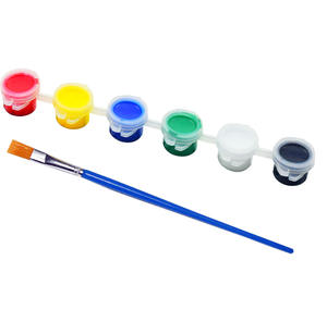 Cheap price Wholesale bulk supply 6 strip pot 5 ml acrylic paint set with brush