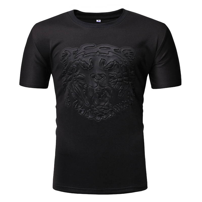 Crewneck Embossing Fashion T Shirt Short Sleeve Mens Summer T-Shirt 3D Embossed T Shirts For Men Solid Color Blank Tees