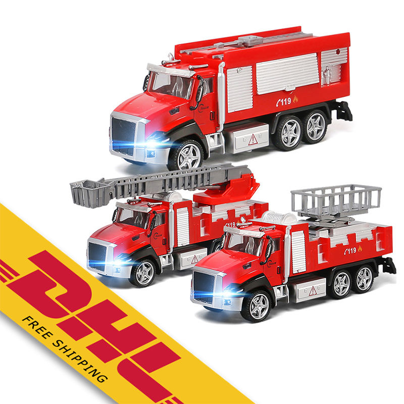 1/42 Fire Engine Series Alloy Car Kids Simulation Metal Fire Rescue Model Car Pull Back Diecast Vehicle Toy Truck Toys for Gifts