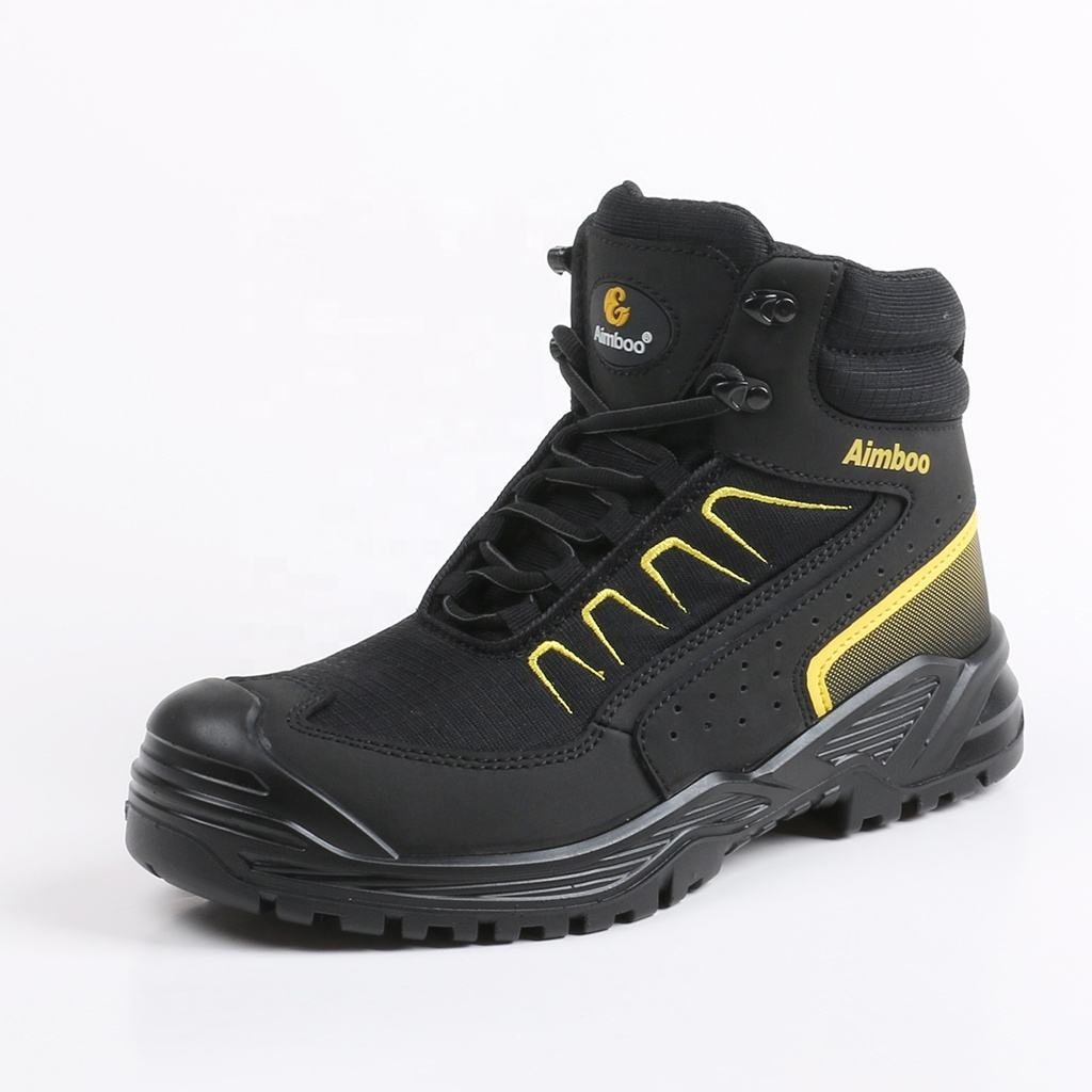 2020 Aimboo factory directly black navy protective boots new design fashion work shoes steel toe safety shoes