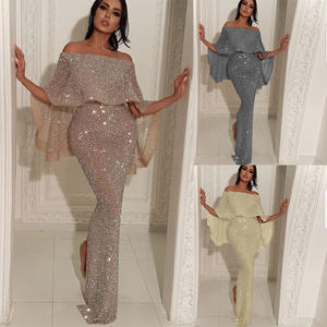KSN4953 2020 Sequin Evening Gowns Off Shoulder Prom Dresses Shiny Sliver Mermaid Woman Party Dress Wear Gown With Cape