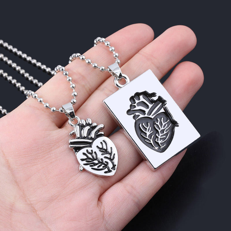Jewelry Hip hop Gold Puzzle Anatomical Organ Heart Pendant Couple Necklace