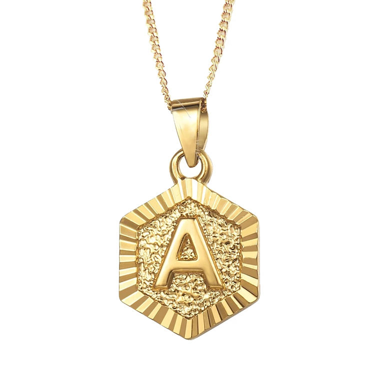 New Fashion A-Z Hexagonal Gold Plated Letter Pendant Necklace Women Initial Necklace Stainless Steel Jewelry