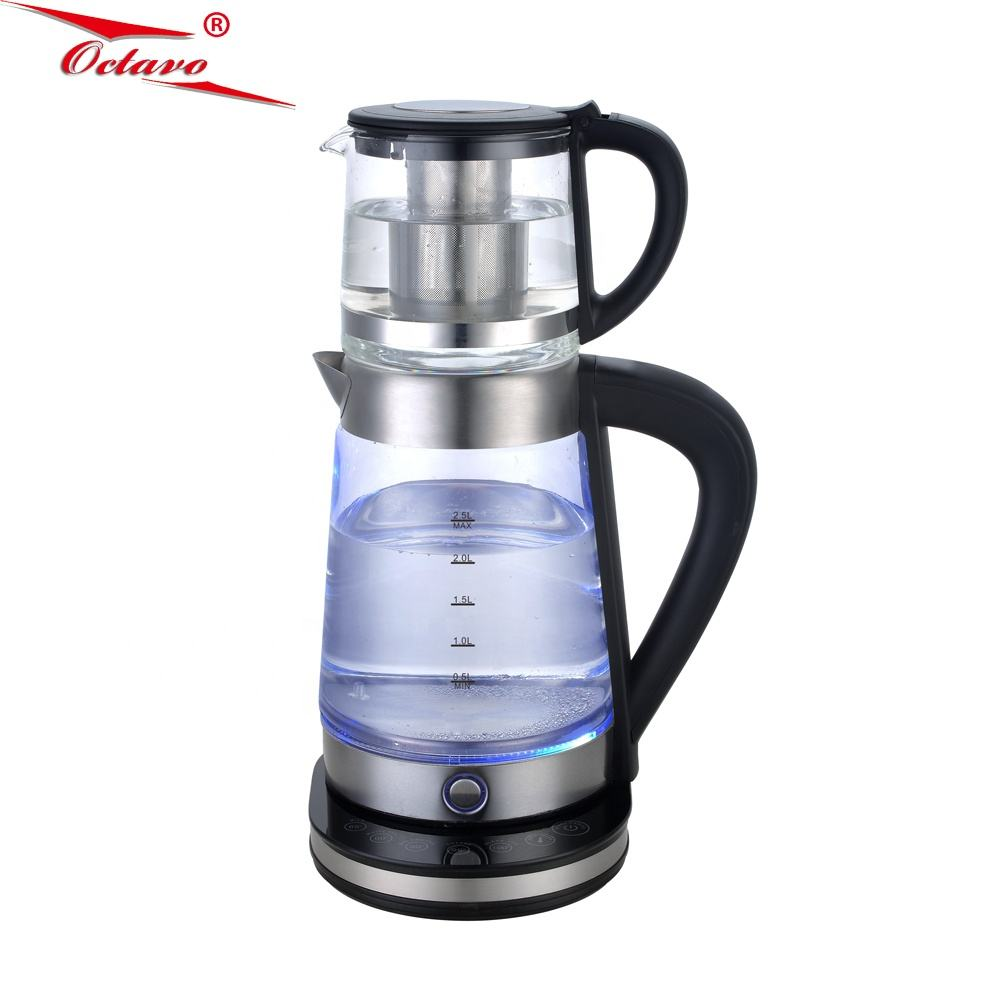 Automatic Power Off display of led water teapot Double glass electric kettle