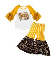 Baby girls wild kids boutique fall long sleeve ruffle bell bottom pants fashion design clothing sets