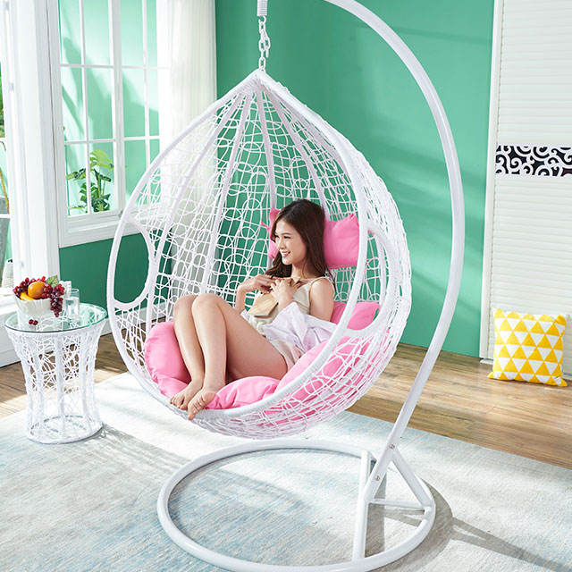 Single Thin Rattan Outdoor/Indoor Hanging Lounge/Camp/Garden/Lawn/Patio Rope Swing Egg Chair Sets Garden Hammock With Cushions