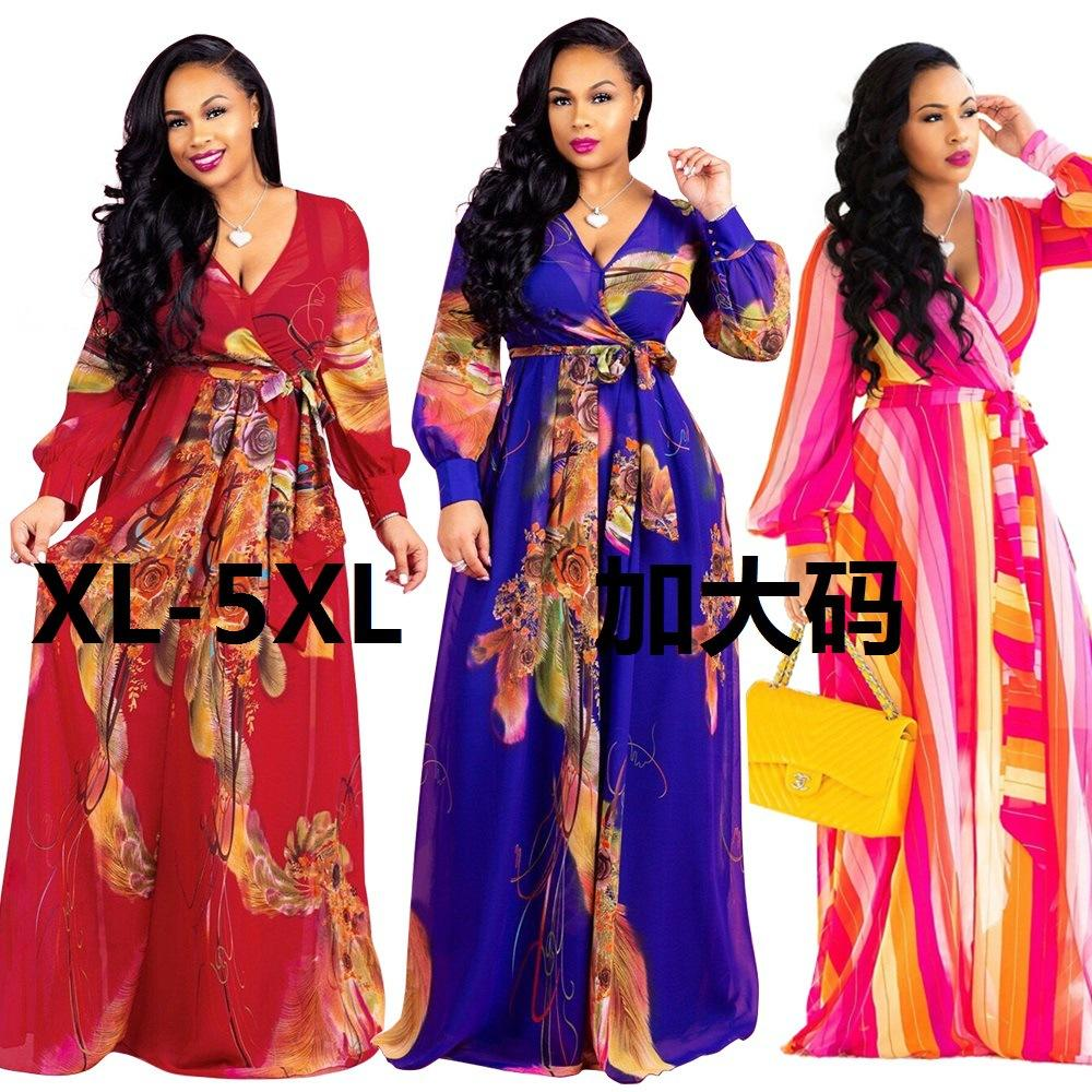 2020 New Arrival African Fashion Loose Elegant Floral Print Women Maxi Dress African Dresses Women Women Long Dress