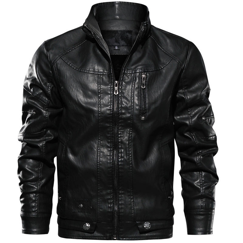 Stylish Wholesale Windbreaker Men's Motorcycle Riding Leather Jacket With Stand Collar Classic Jaqueta Casacas para hombre cuero