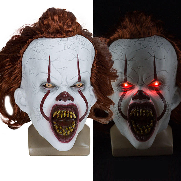 Nicro Pennywise Stephen King 'S Clown Joker Cosplay Party Full Face Head Siliconen <span class=keywords><strong>Latex</strong></span> Scary Led Halloween <span class=keywords><strong>Masker</strong></span>